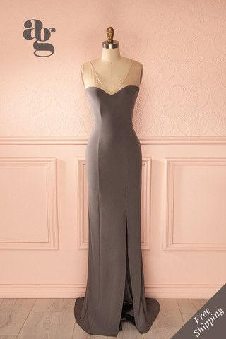 Janet Grey - Beige mesh soldiers grey gown - Boutique 1861