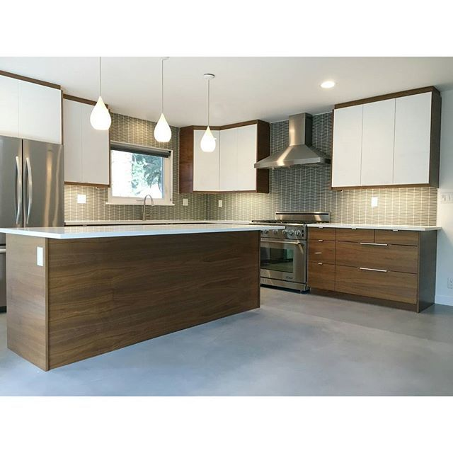 Instagram Media By Semihandmade   Flatsawn Walnut And Hi Gloss White IKEA  Kitchen From Earlier