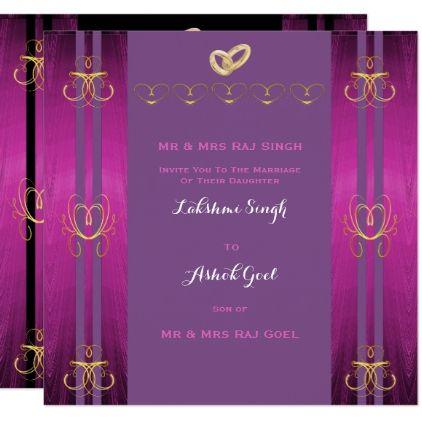 template - #Modern Hindu Indian Wedding Invitation Gold Purple ...