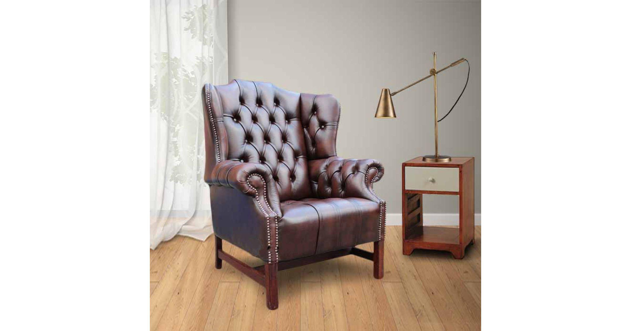 Brown chesterfield churchill high back chair