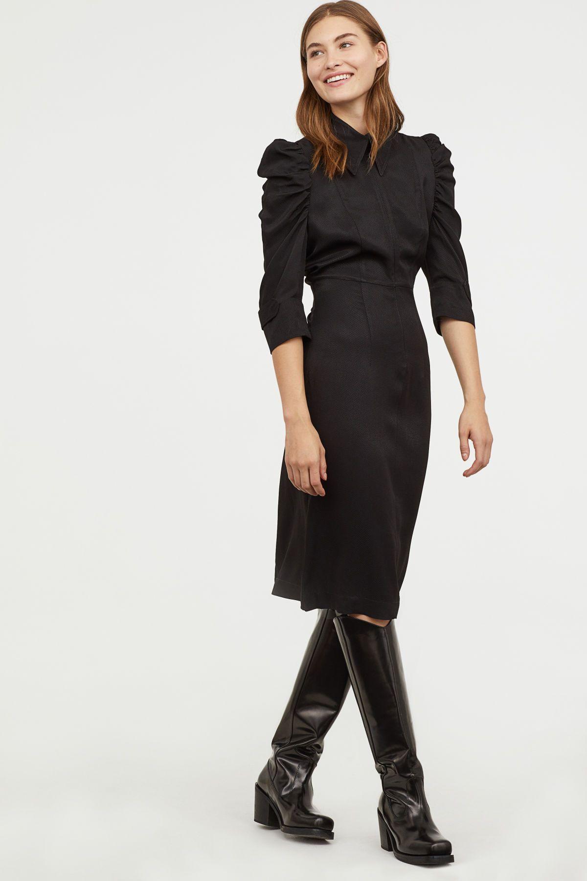 kleid mit puffärmeln | schwarz | damen | h&m de | business