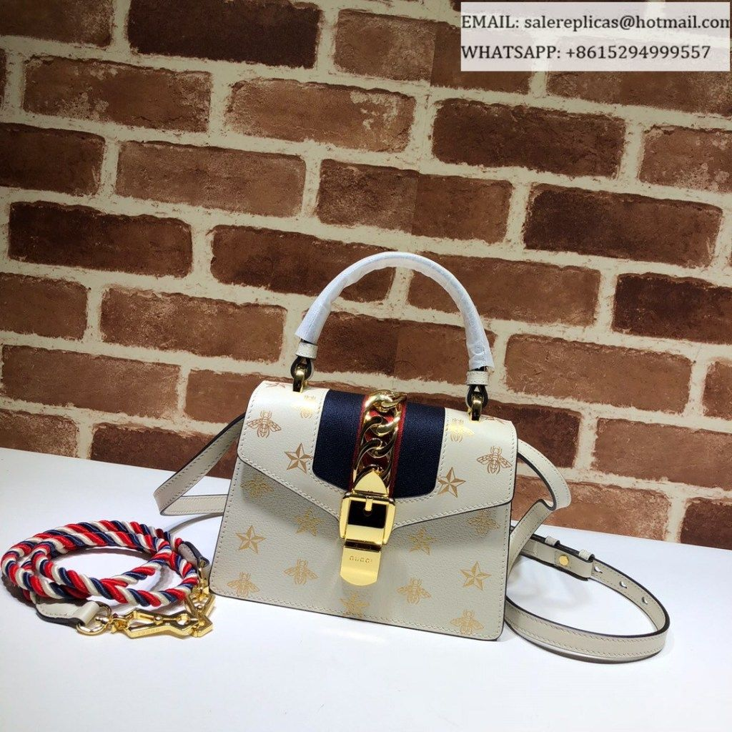 d7b3dacb38e Gucci Sylvie Bee Star mini leather bag 470270 White