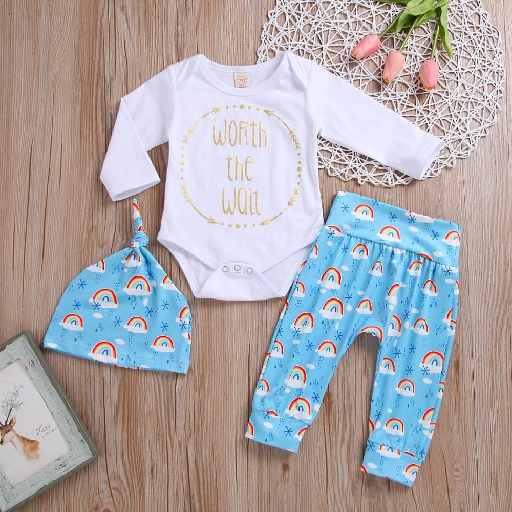 d967fbf3a7737 Rainbow baby clothes set Newborn Baby Girls Boys letter Romper Jumpsuit  Bodysuit +cute cloud print