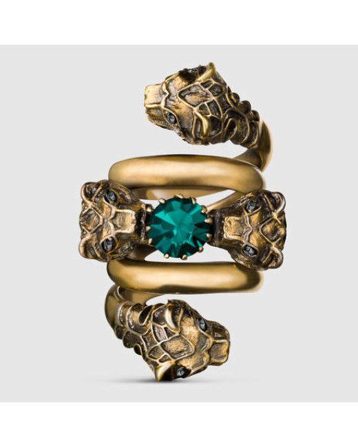 cbf216276 Women's Metallic Double Wrap Ring With Tiger Heads | Milky ...