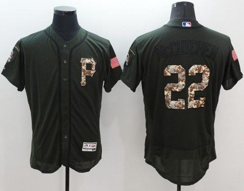 Men's Pittsburgh Pirates #22 Andrew McCutchen Green Salute to Service 2016 Flexbase Majestic Baseball Jersey