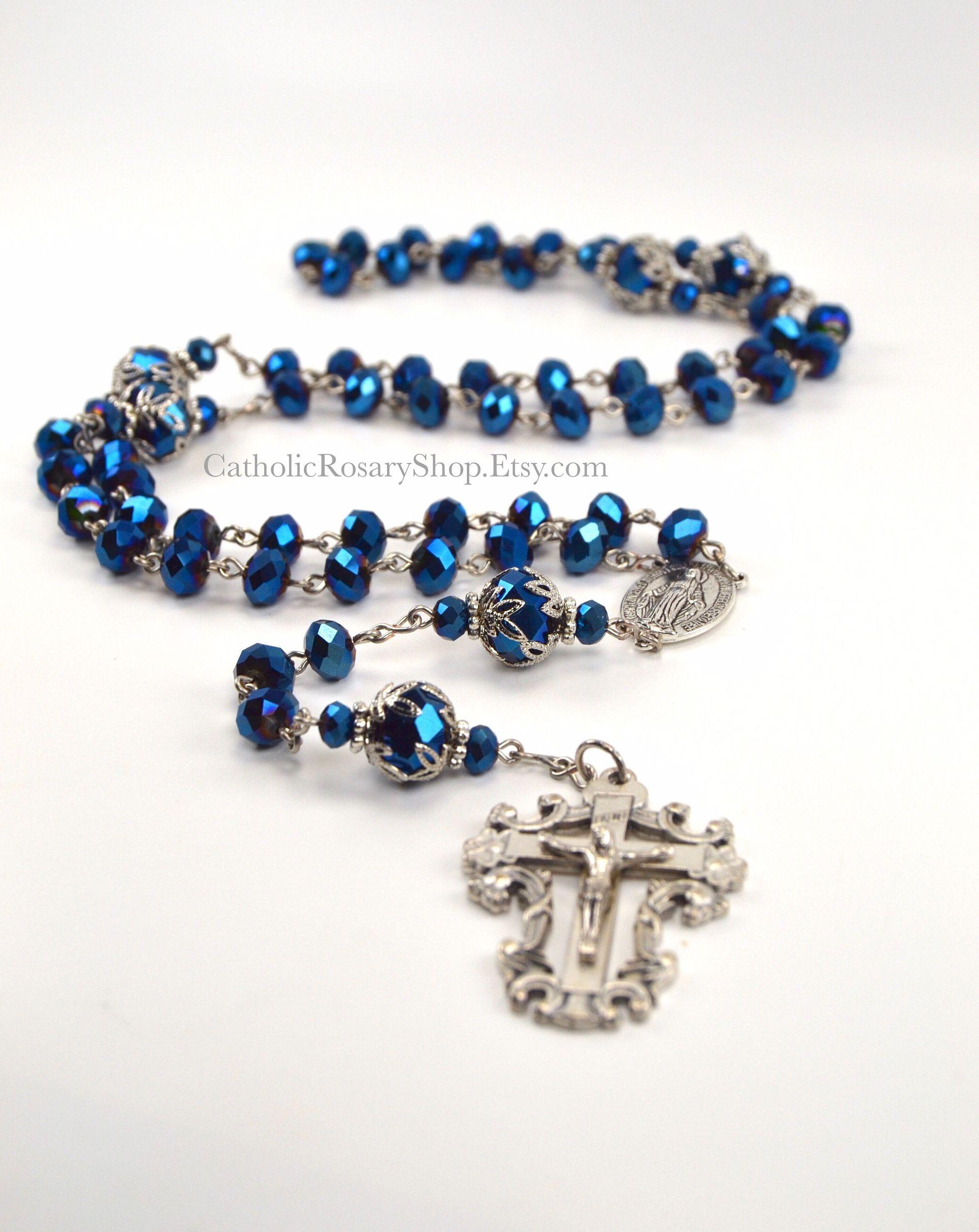Something Blue Personalized Crystal Catholic Rosary Beads