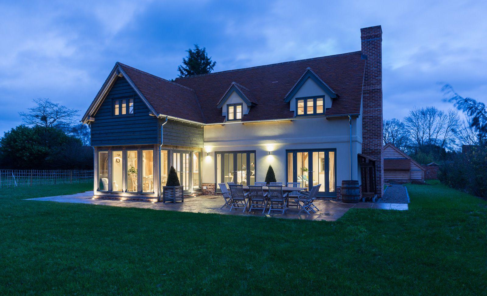 Border Oak Show House At Dusk House Architecture Design Self Build Houses House Styles