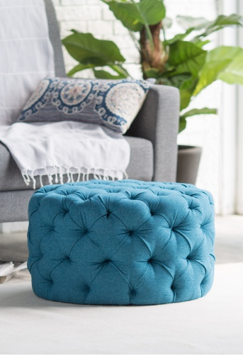 89 Turquoise Blue Allover Tufted Round Ottoman