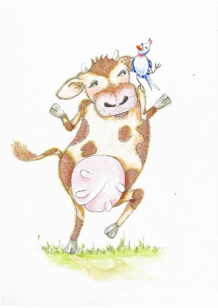 Dancing Cow and Bird | Gisela Robinson Illustrations in 2019