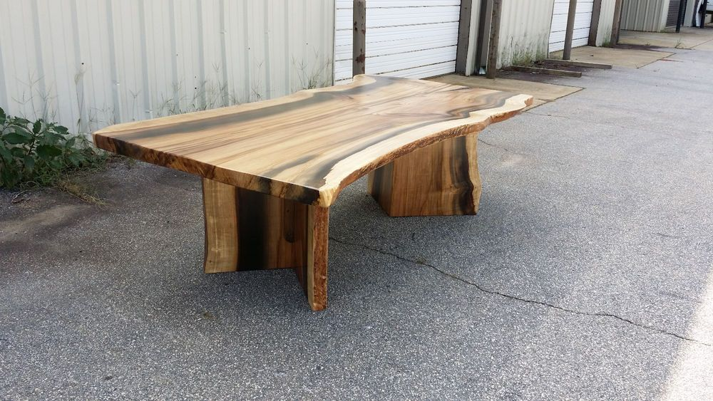 Details about Thick Rainbow Poplar Live Edge Slab Dining