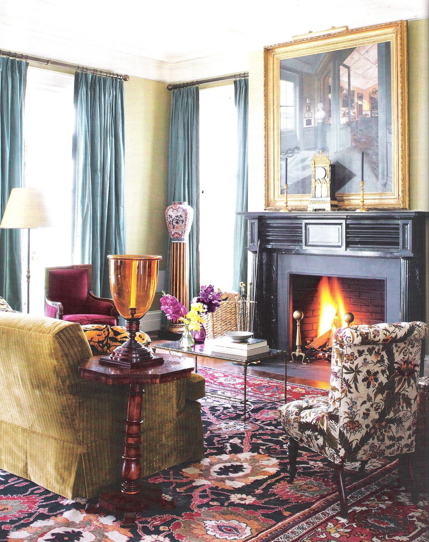 Living Room - home in upstate New York, Miles Redd Interior Design. Image Elle Decor