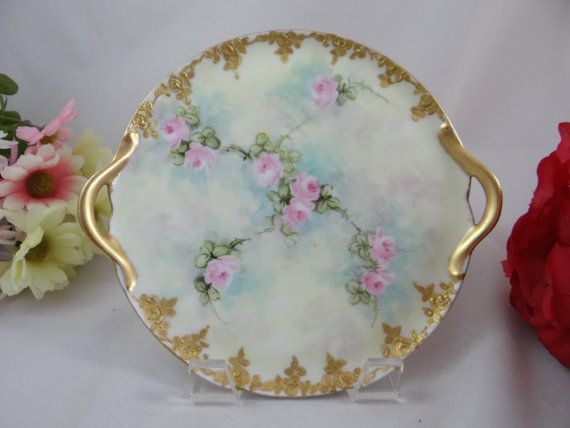 Reinhold Schlegelmilch R.S. Germany Prussian Pink Rose Bon Bon Plate c1910 to 1939