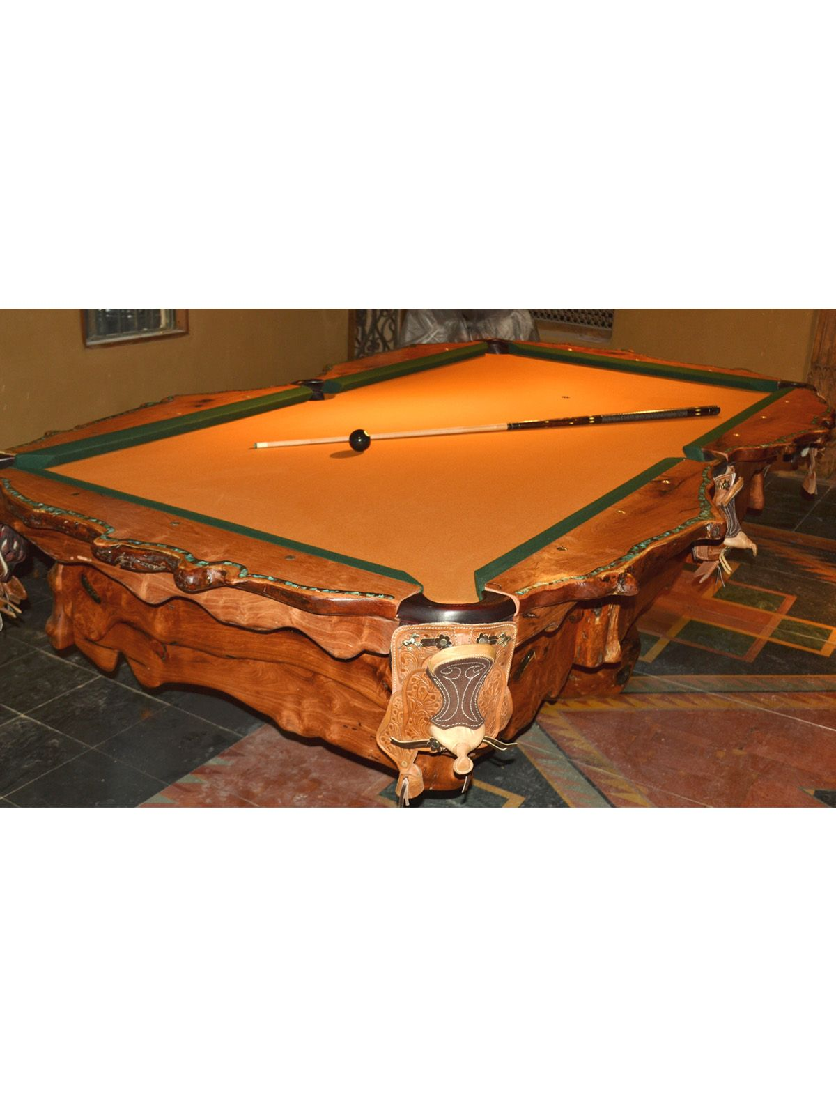 One Of A Kind Mesquite Pool Table With Inlaid Turquoise