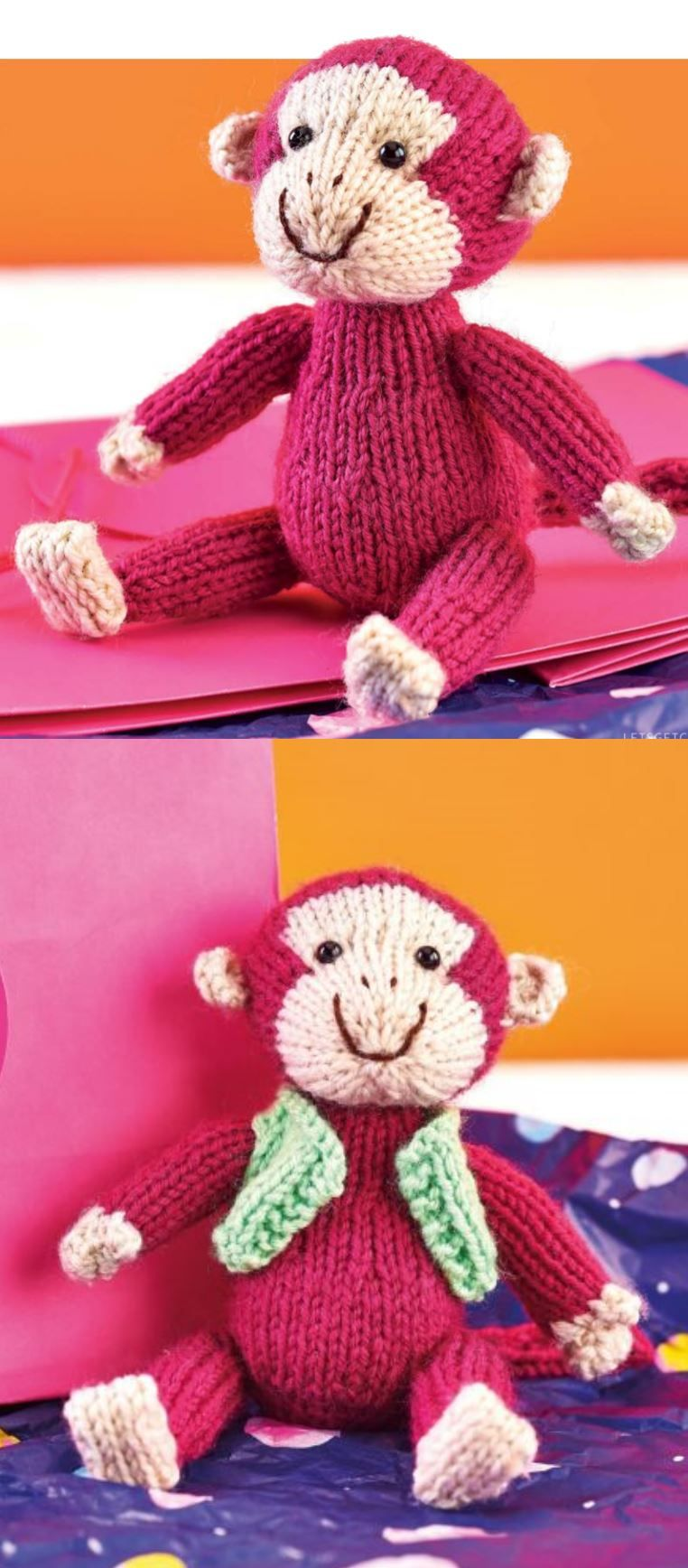 Free Knitting Pattern for a Monkey Toy