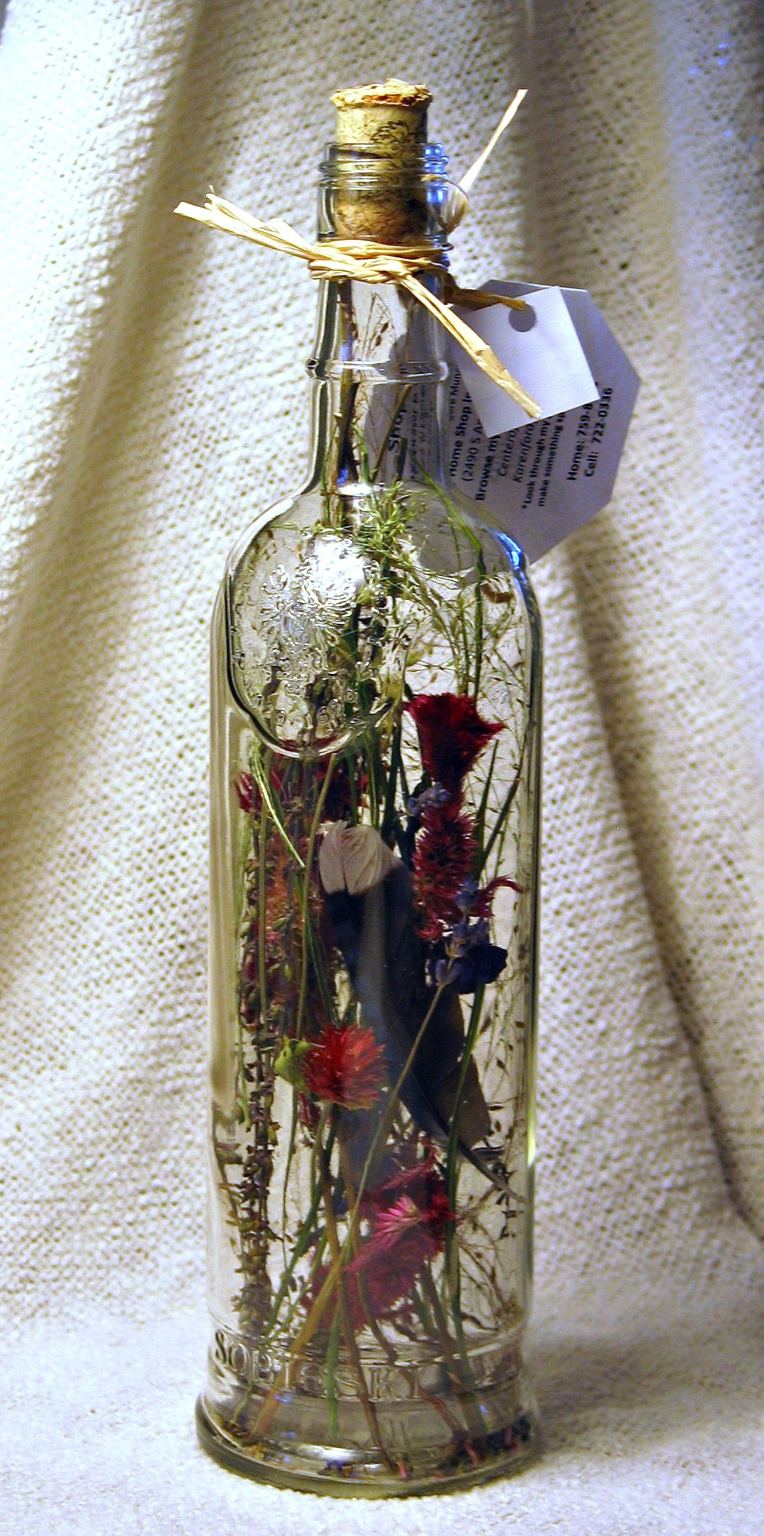 Dried Flowers Fill This Clear Wine Bottle Wedding Wine Bottles