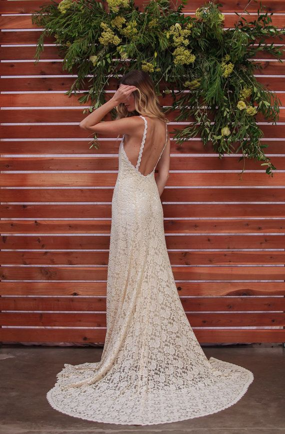 Lace Backless Wedding Dress Plunge Scallop Front Low Back Wedding