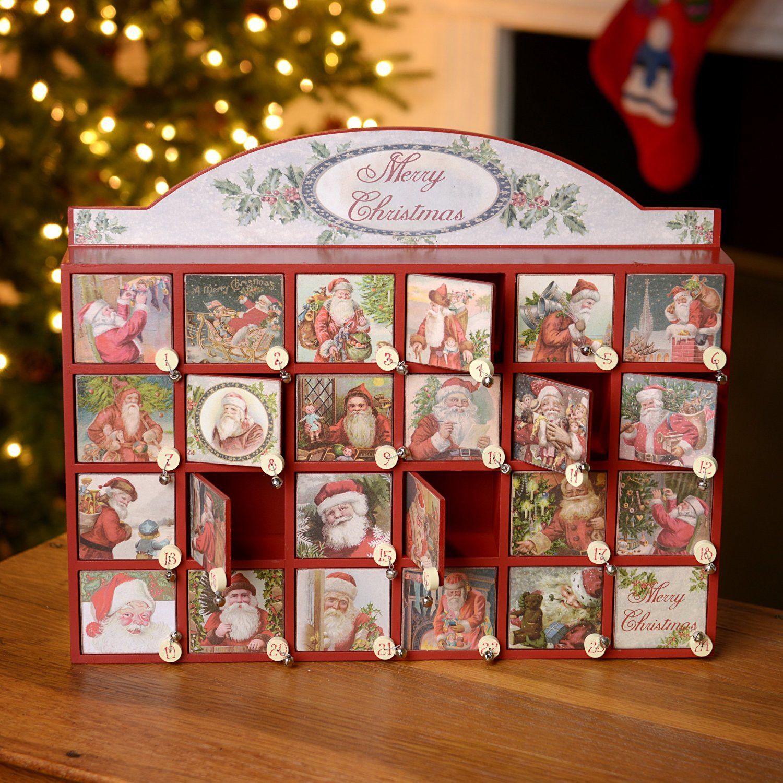 Individual ornament boxes - Merry Santas Vintage Christmas Countdown Box Advent Calendar With Individual Drawers