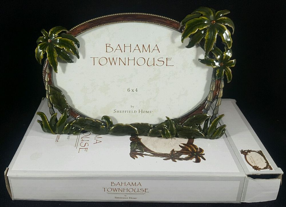 "NIB Sheffield Home Jewele 6 x 4"" Palm Tree Beach Bronze Bahama Picture Frame 6x4…"