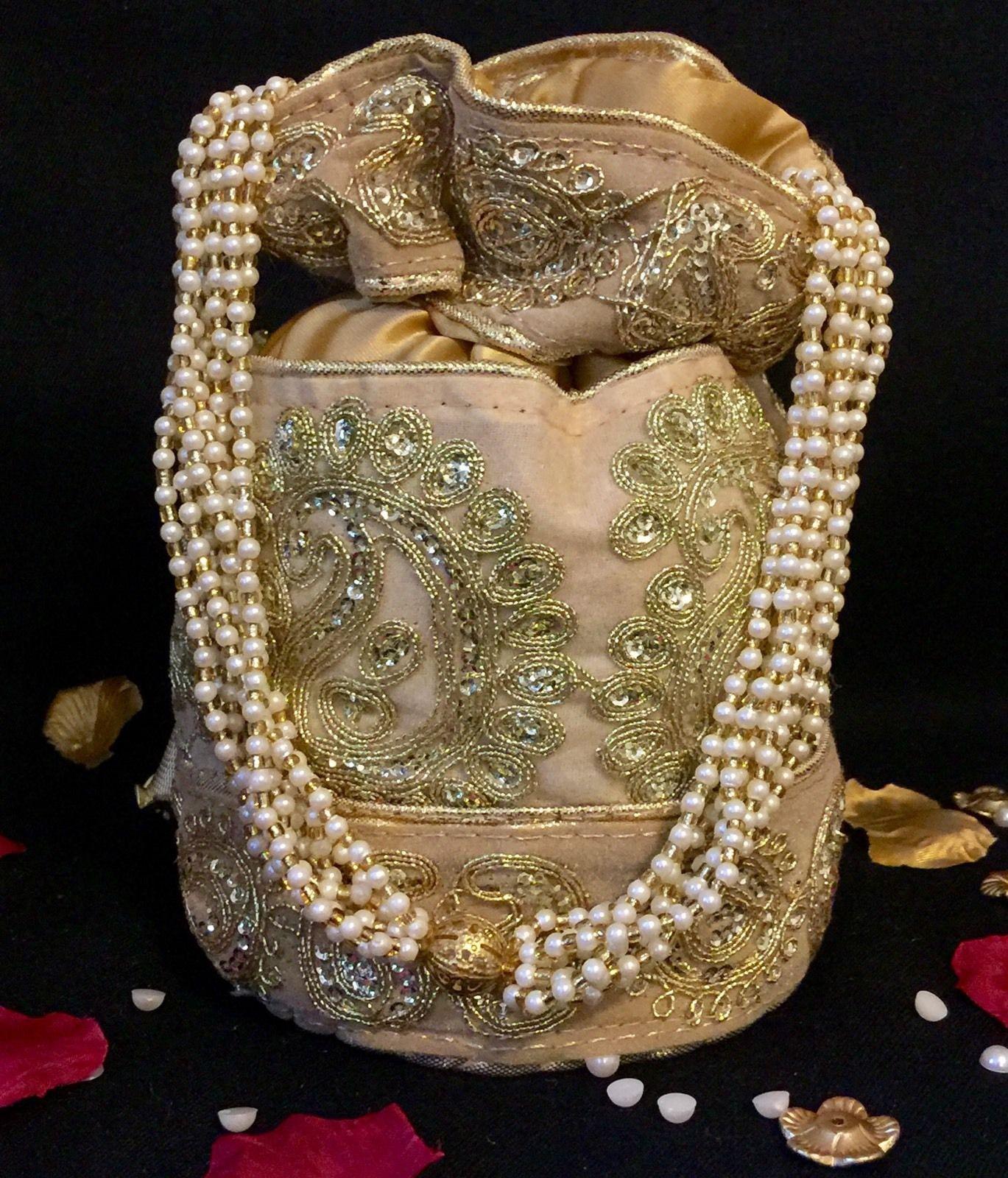 Bollywood Celebrity Bridal Gold Potli Clutch Dolly Bag