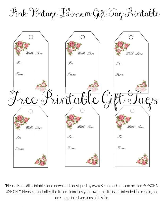picture about Free Printable Gift Tags identified as Classic Blossom Cost-free Printable Present Tags Cost-free Printables