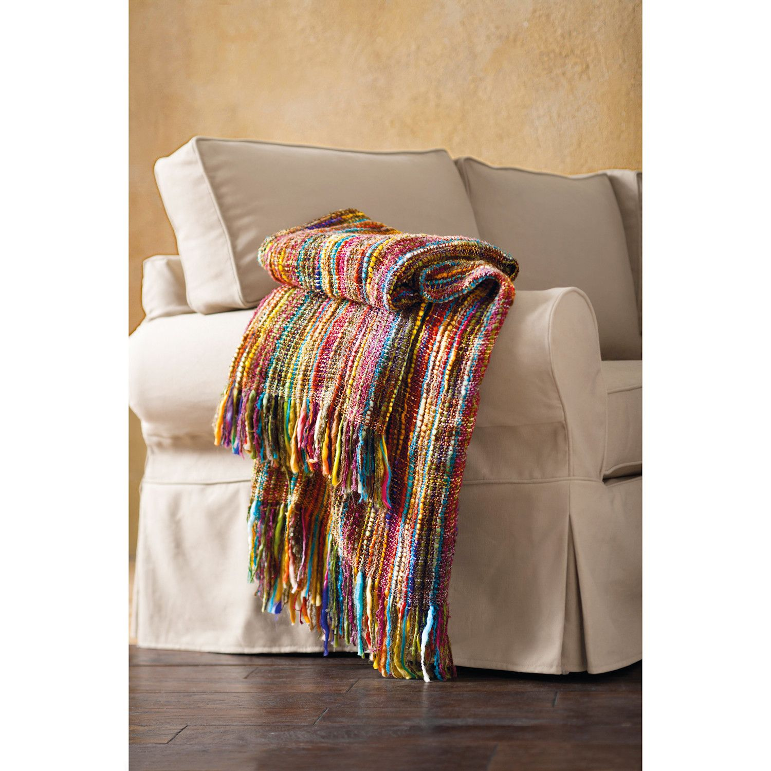 Chunky Knit Throw Blanket Bright Colors Striped Fringe