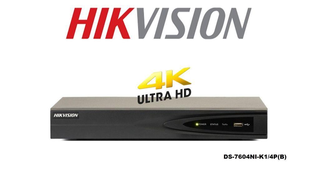 HIKVISION DS-7604NI-K1/4P(B) -NVR- 4CH 4PoE up to 8MP HDD not