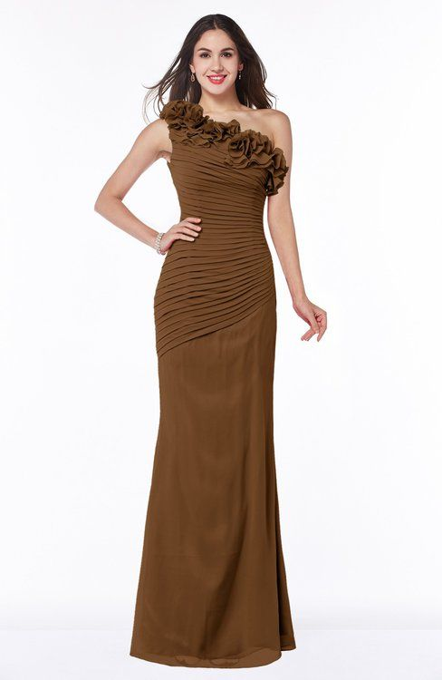 0c23a38a1aec Brown Sexy Fit-n-Flare Sleeveless Half Backless Chiffon Flower Plus Size Bridesmaid  Dresses