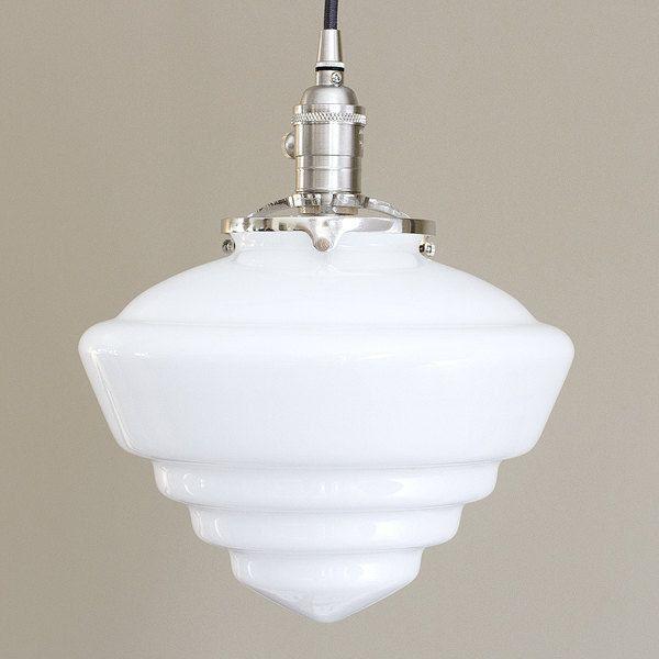 etsy lighting pendants. Large Glass Pendant Light Fixture Schoolhouse Cone Art Deco White By OldeBrickLighting On Etsy Lighting Pendants