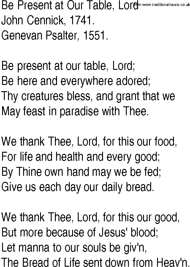 Be Present at Our Table, Lord by John Cennick | Thanksgiving ...