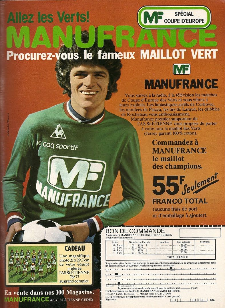 pub manufrance 100 vintage pinterest maillot saint etienne saint tienne et maillots. Black Bedroom Furniture Sets. Home Design Ideas