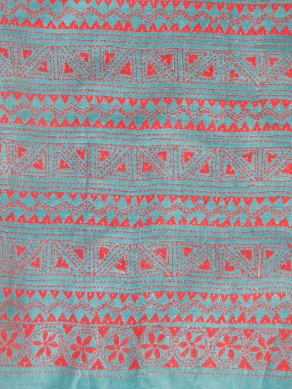 07f026d923cc8 Buy Greyish blue with Red Silk Kantha work Blouse Fabric Work Blouse