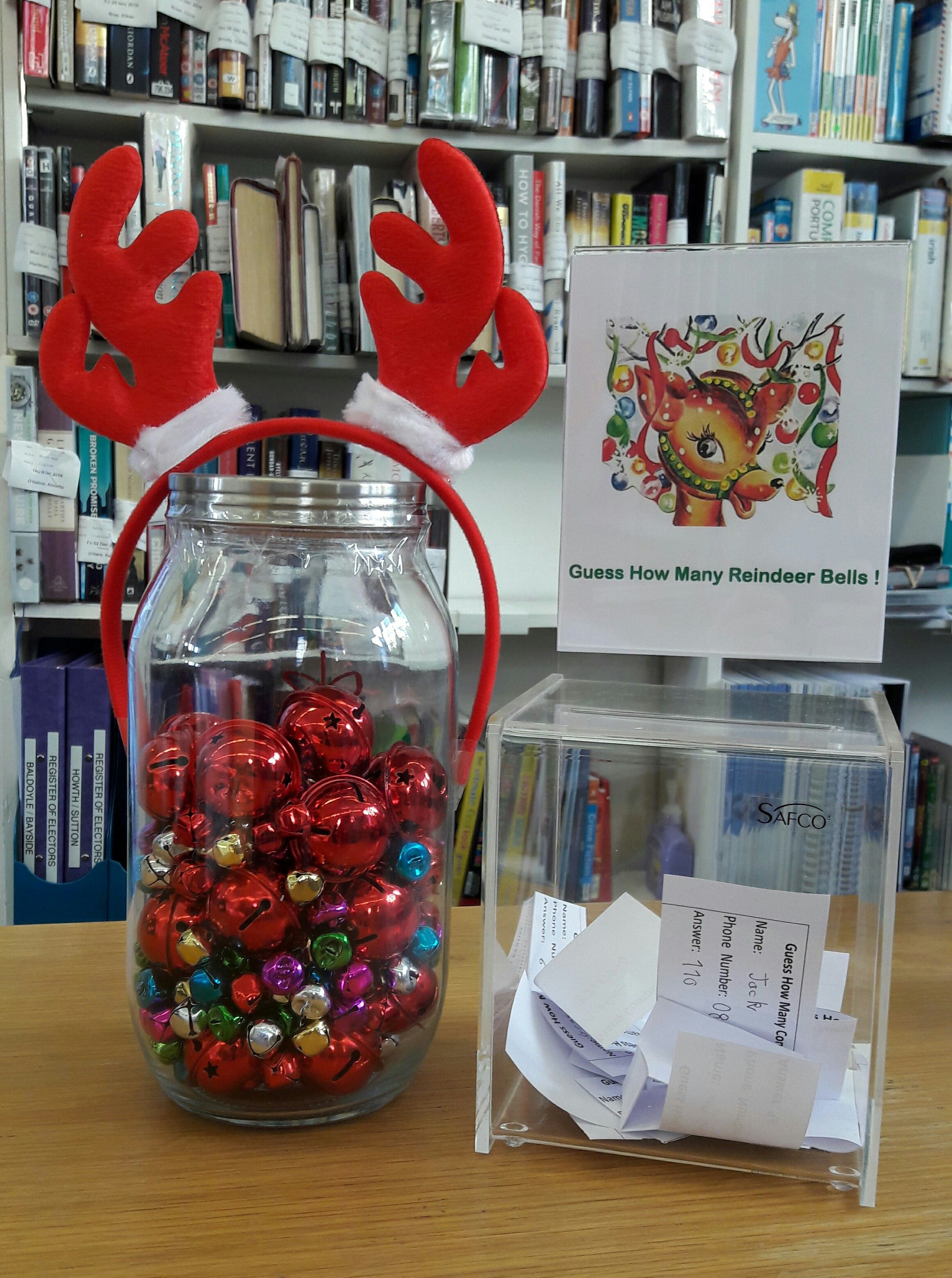 Guess How Many December Can You Guess How Many Reindeer Bells Are In The Jar One Lucky Ho Christmas Party Prizes Christmas Contests Office Christmas Party