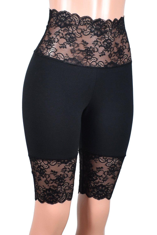 Knee Length Wide Waistband Black Stretch Lace Shorts XS S M L XL 2XL 3XL plus size high-waisted goth bike shorts Short High Waist cotton