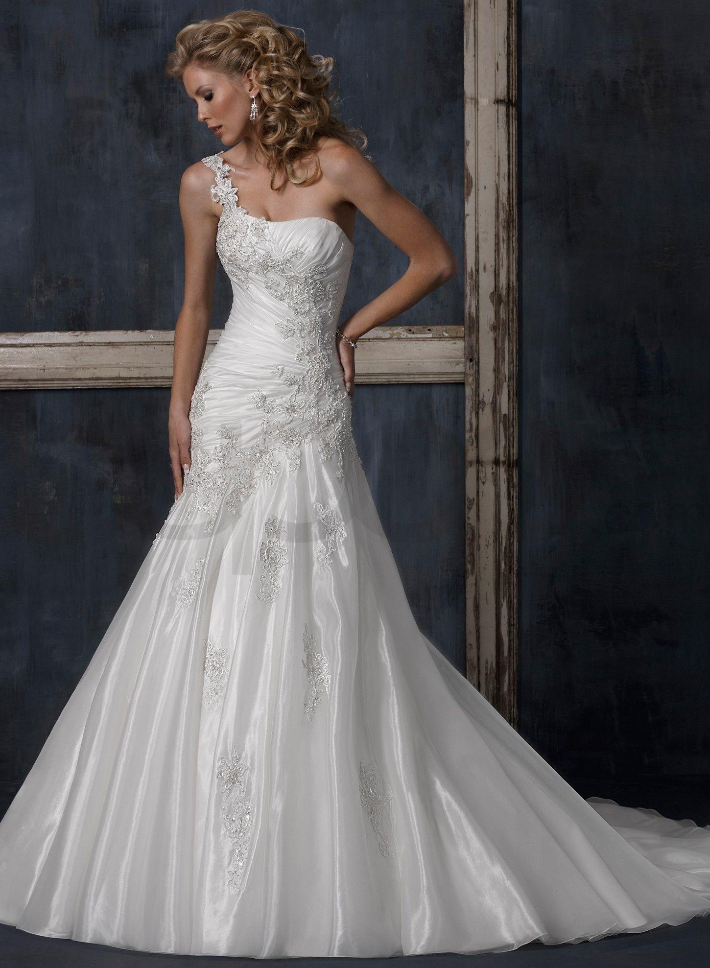 Crystal organza one shoulder strap neckline a line wedding for A line wedding dresses with straps