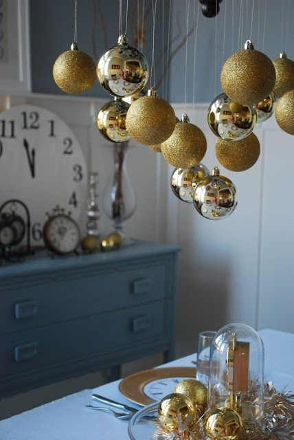 Use christmas ornaments as new years décor from northwest lovelies new years eve