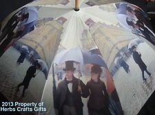 Stick Umbrella Caillebotte Paris Rainy Day Rain Walking Hook Auto Open New Tag