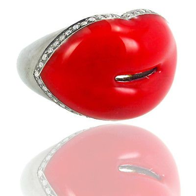 New 925 Sterling Silver Red Lips Ring Diamond Pave 14k Gold