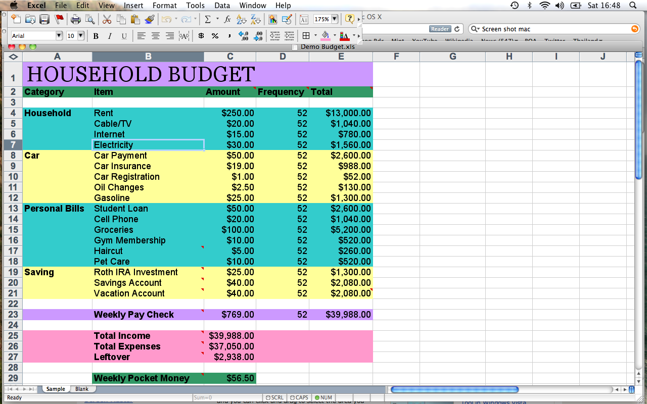 Template For Home Budget. 10 household budget templates free ...