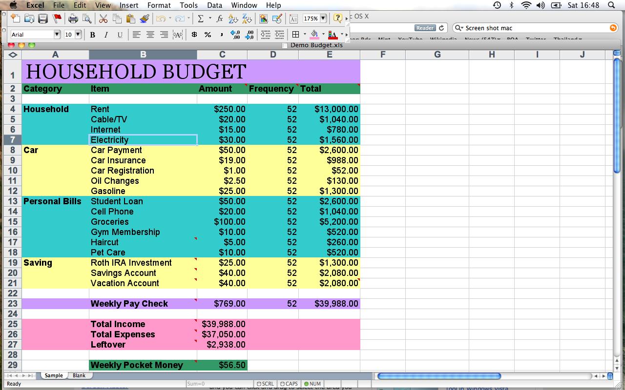 Sample household budget template madohkotupakka alramifo Image collections