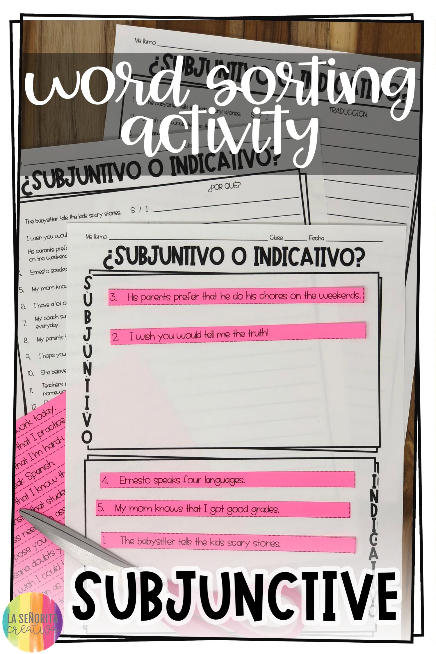 Subjunctive Vs Indicative Spanish Sorting Activity And