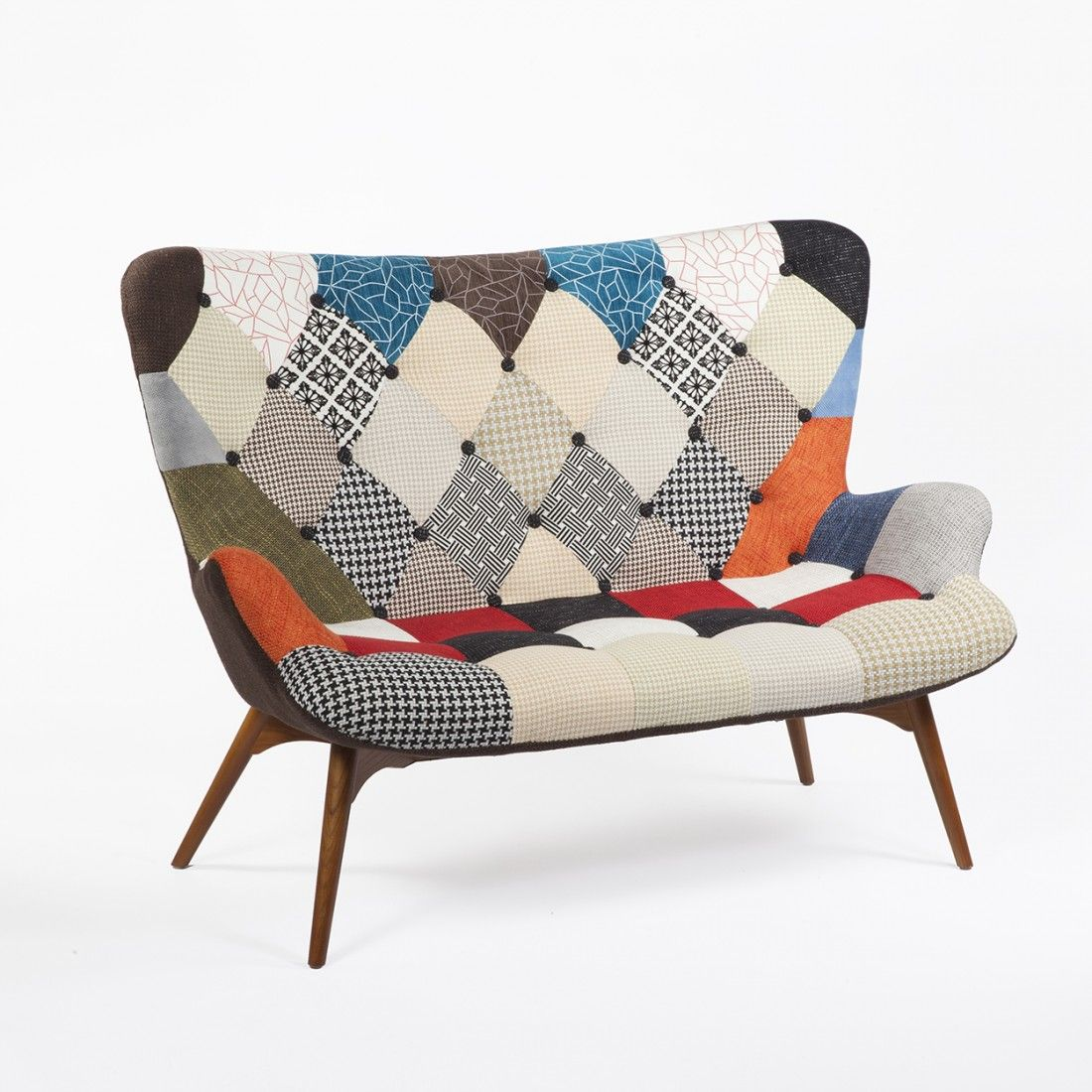Mid century modern reproduction contour sofa patchwork upholstery inspired by grant featherston