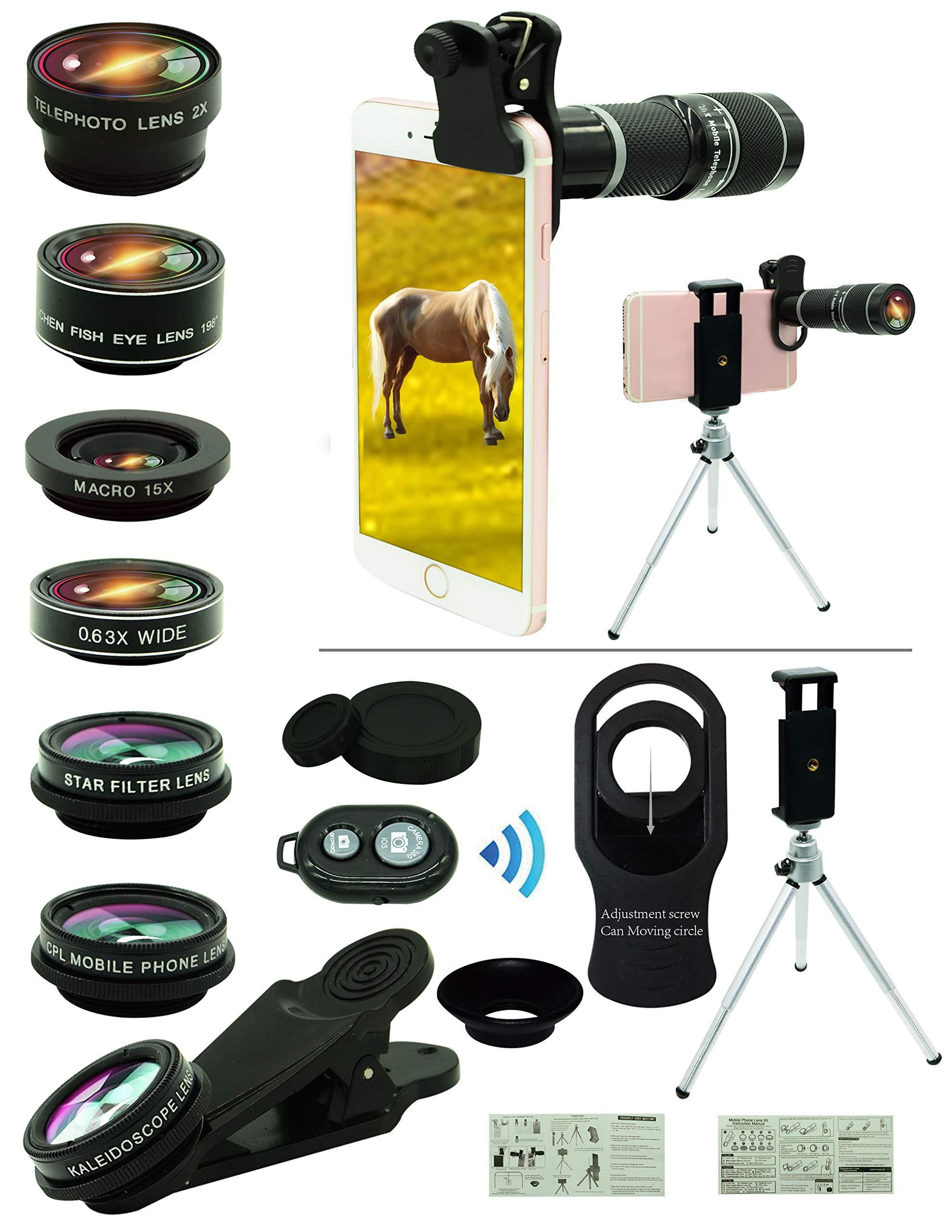 Cell Phone Camera Lens Kit,11 in 1 Universal 20x Zoom Telephoto Lens ,0.63 Wide Angle for Smartphone #wideangle