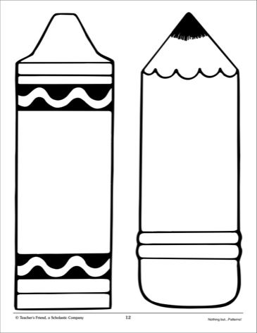 Crayon and pencil large pattern scholastic printables for Crayon coloring pages printable