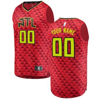 770083707 Atlanta Hawks Fanatics Branded Fast Break Custom Replica Jersey Red -  Statement Edition