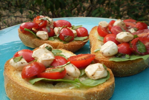 Cherry Tomato Bocconcini And Basil Bruschetta Recipe Food Com Recipe Bruschetta Recipe Wine Party Appetizers Food