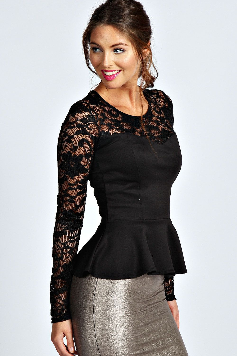 4968ac6bf0bfd Alannah Lace Long Sleeve Peplum Top at boohoo.com
