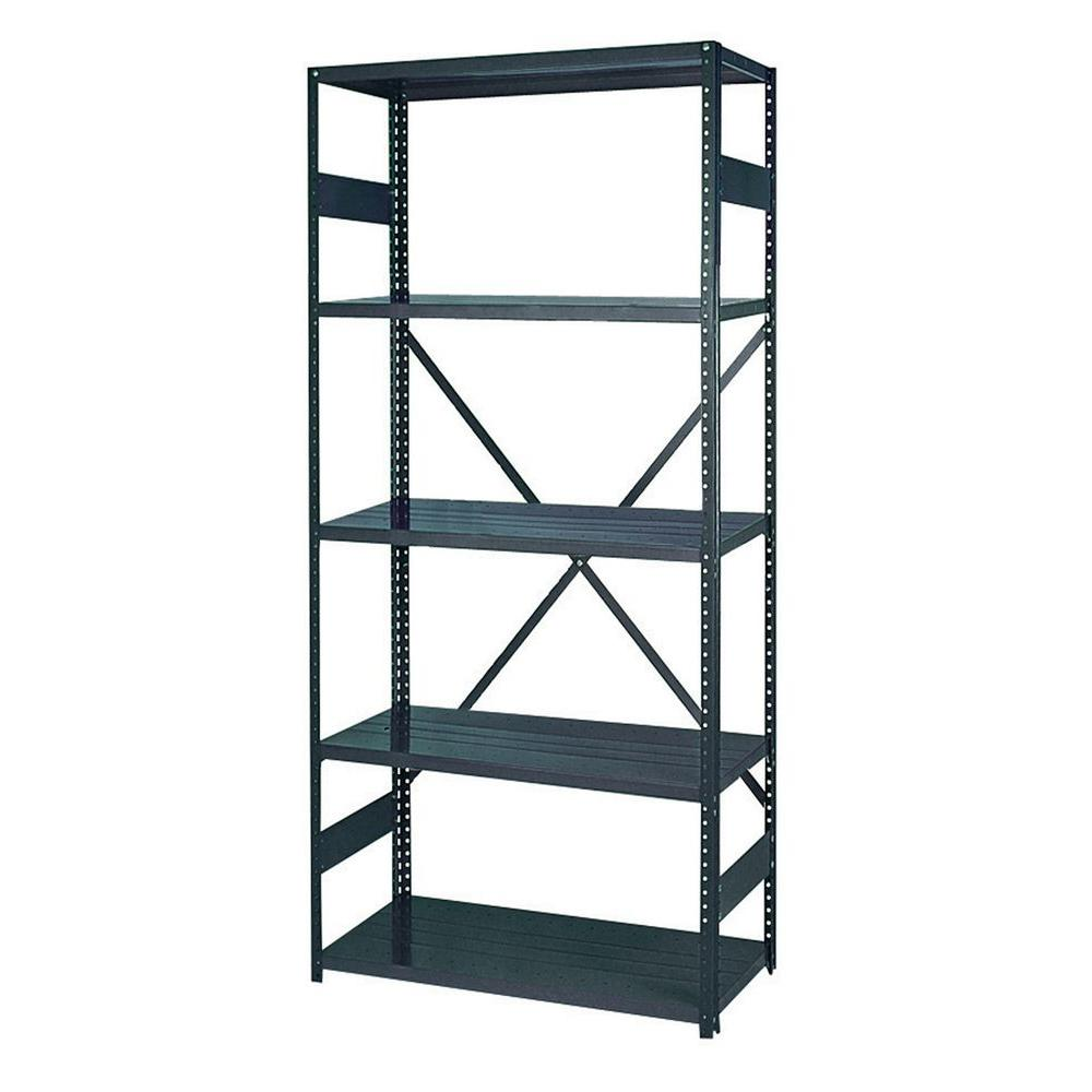 Edsal 75 In H X 36 In W X 12 In D 5 Shelf Steel Commercial Shelving Unit In Gray 2912 5 The Home Depot In 2020 Shelves Commercial Shelving Shelving