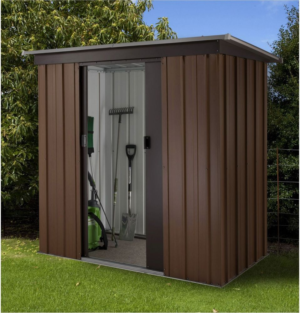tall woodgrain pent metal shed 6ft x 4ft