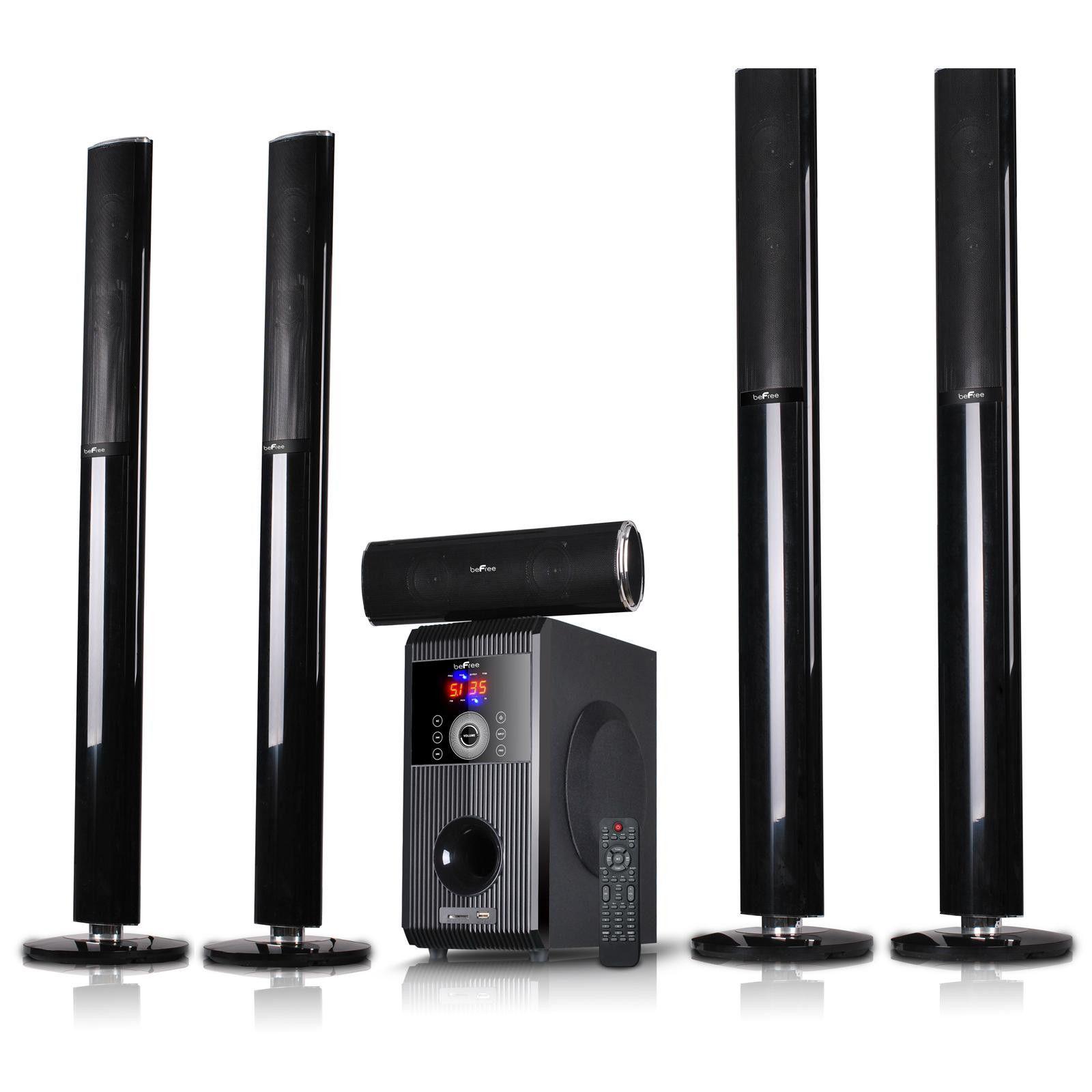 beFree 5.1 Channel Surround Sound Speaker System with Bluetooth USB//SD//FM Remote