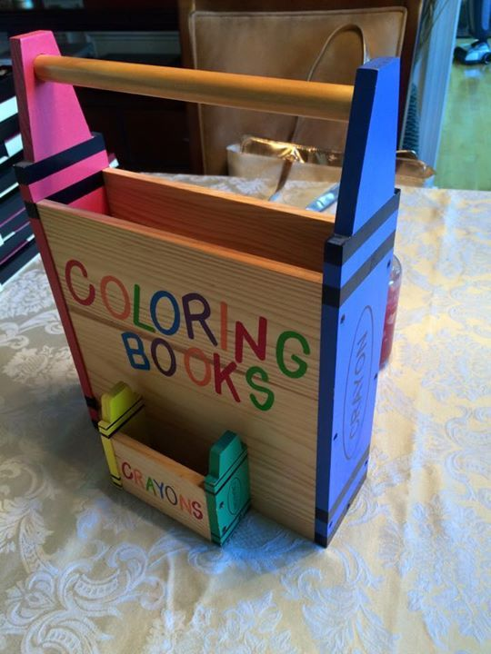 Wooden Coloring Book And Crayon Holder Wooden Crafts Crayon Holder Crafts